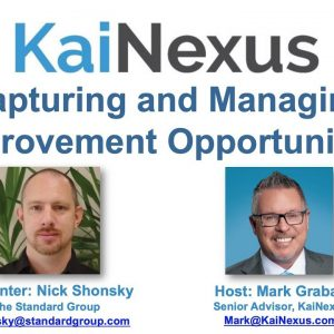 Webinar: Capturing and Managing Improvement Opportunities